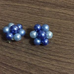 Vintage earrings clip on signed HONGKONG blue